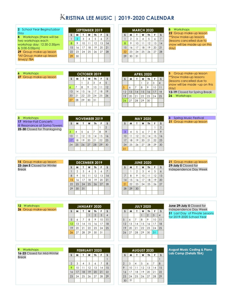 2019-2020 Kristina Lee Music Calendar